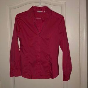 New York & Company Button Down Shirt Fuchsia Pink